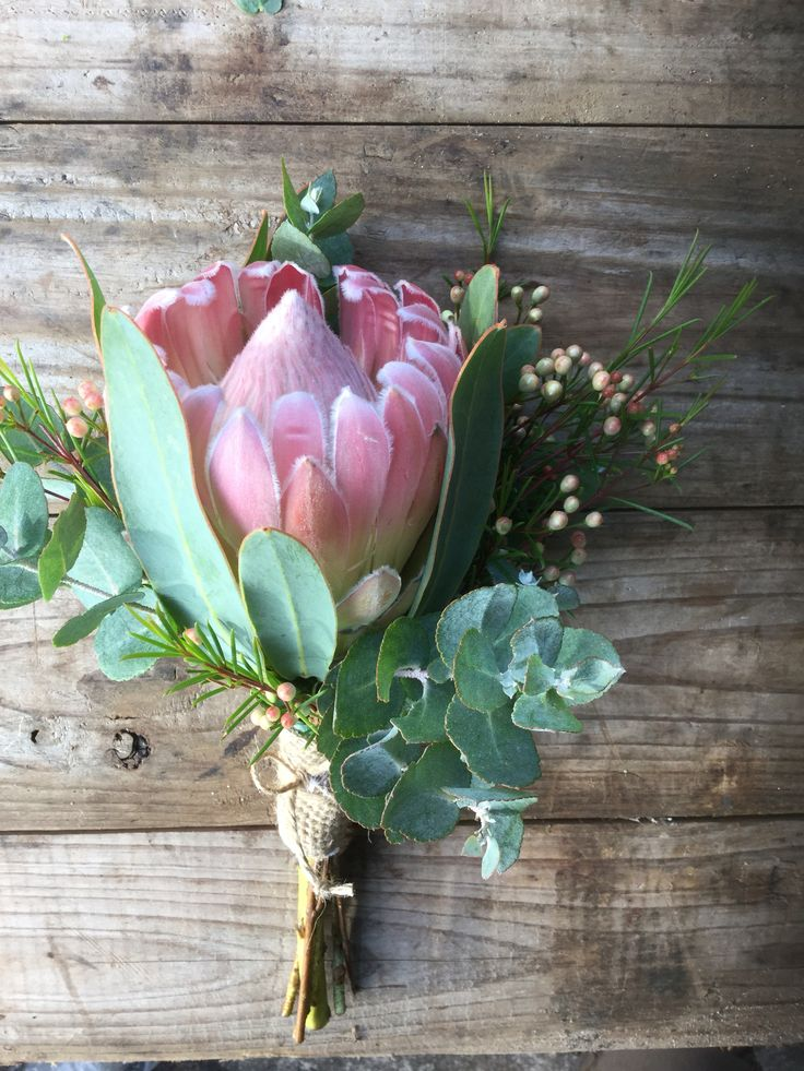 Simple Protea Wedding Bouquet at Peninsula Wild Flower