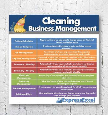 Home or Commercial Cleaning Business Management Excel Spreadsheet to track jobs, income, expenses, and profit on a weekly, monthly, and yearly basis!