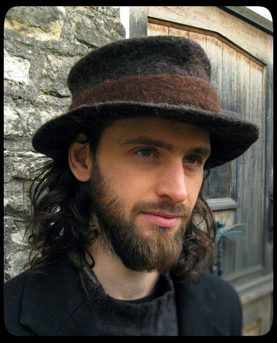 MADE to ORDER - ARtWeAR Trilby fedora classic felt hat - men mens women  unisex - hand felted wool - black brown - natural eco -Handma… baddee1a259