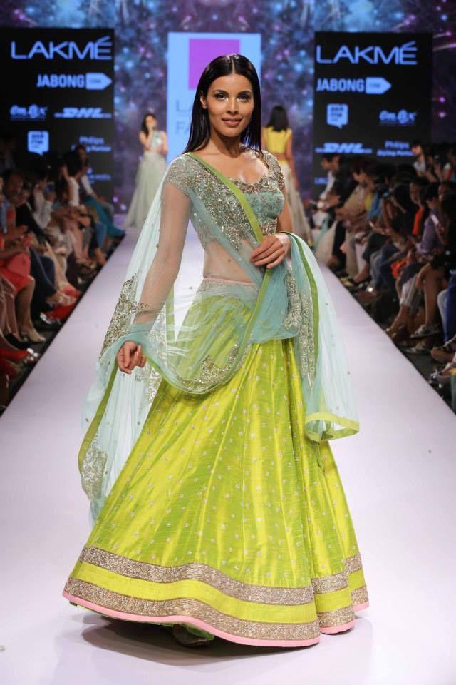 Anushree Reddy Lime Green #Lehenga At Lakme Fashion Week 2015.