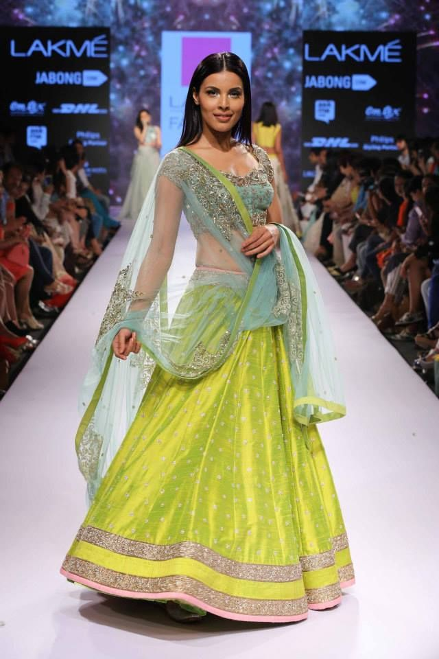 Anushree Reddy Lime Green #Lehenga At Lakme Fashion Week 2015.