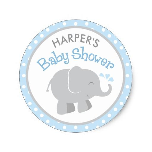 Elephant baby shower stickers blue and gray