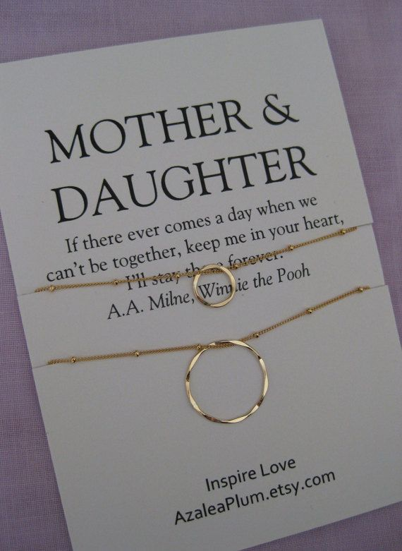 Mom Gift Birthday Daughter Necklace Delicate Gold Circle Gifts For Her