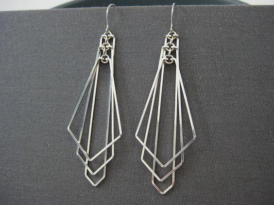 Art Deco orecchini  orecchini di ventilatore di freccia lunga