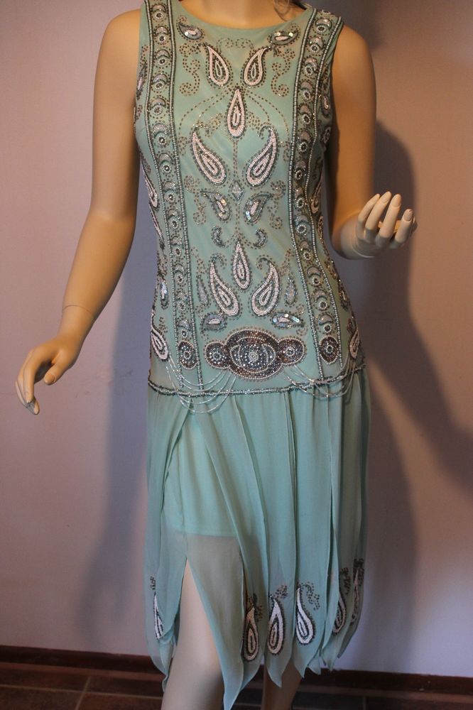Sue Wong Sea Foam Silk Dress W Beads And Sequins In The Style Of 1920s Sz8 Suewong Partytail