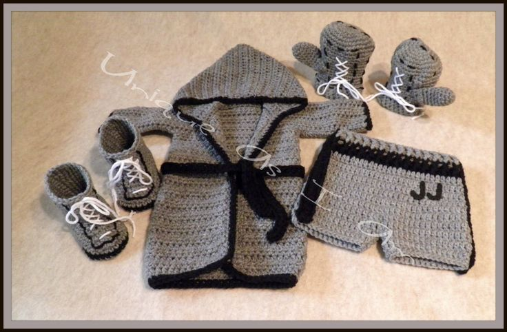 Crocheted Baby Boxing Outfit with Gloves and by UniqueAsIAm