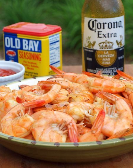 Easy Shrimp...  let the shrimp soak in the beer and Old Bay for about 30 minutes, drain and steam.