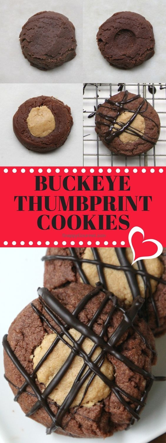 Buckeye Thumbprint Cookies recipe - easy homemade from scratch chocolate and peanut butter cookie! Best Christmas cookie! SnappyGourmet.com
