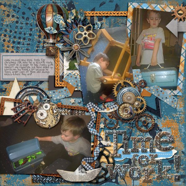 I've had these pictures of my son and his tools set aside to scrap for a while. I noticed this new bundle Eclectic Man from Marie H is perfect! So many cool elements and grungy papers and splatters (I see some Steampunk pages  coming out of this one!) I also used Marie H's template from the Natural Thing Grab Bag with Dana's Footprint Digital Designs. You can find both of these items in the GDS store! (the bundle is on sale right now!)
