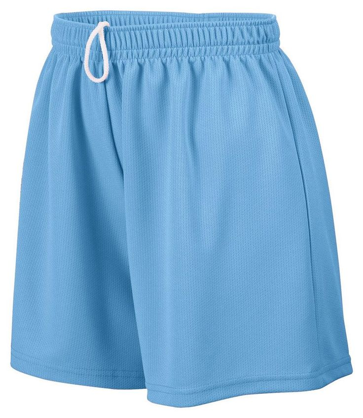 Augusta Sportswear Ladies' Wicking Mesh Short, 2XL, COLUMBIA BLUE. Wicks moisture away from the body. Ladies' fit. Covered elastic waistband with inside drawcord. 5-inch inseam. Double-needle hemmed bottom.