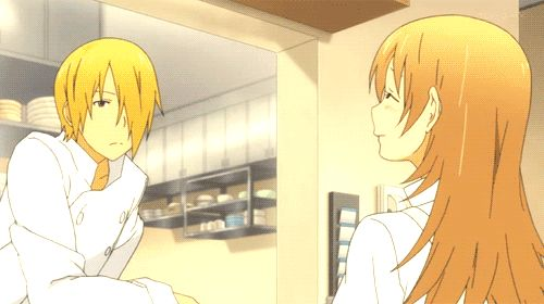Satou watching Yachiyo get back to work.