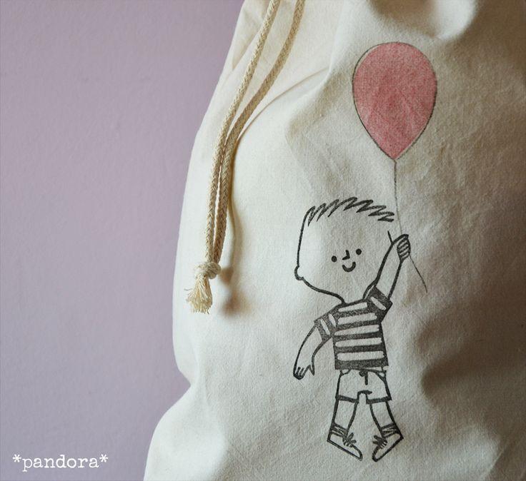 cotton drawstring bag * kid with balloon * pandora creazioni