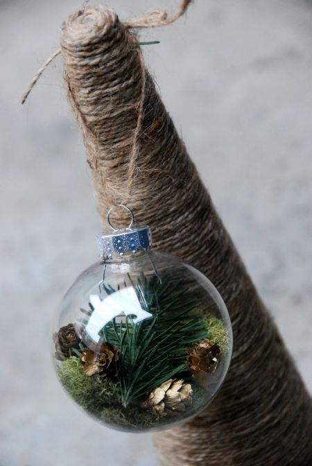 Christmas Craft:  DIY ornament--Start with a glass or plastic ornament, insert some reindeer moss as a soft base, add a clipping from your tree trimming, and gently scatter mini pine cones.