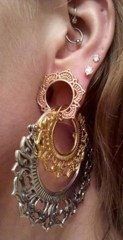 Tribal Ear Piercing Ideas Boho Ear Gauge Plugs Stretching Crystal Double Lobe Earrings Daith Ring Hoop - www.MyBodiArt.com