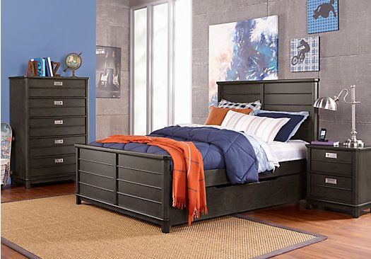 picture of Bay Street Charcoal 5 Pc Full Panel Bedroom from Teen Bedroom Sets Furniture