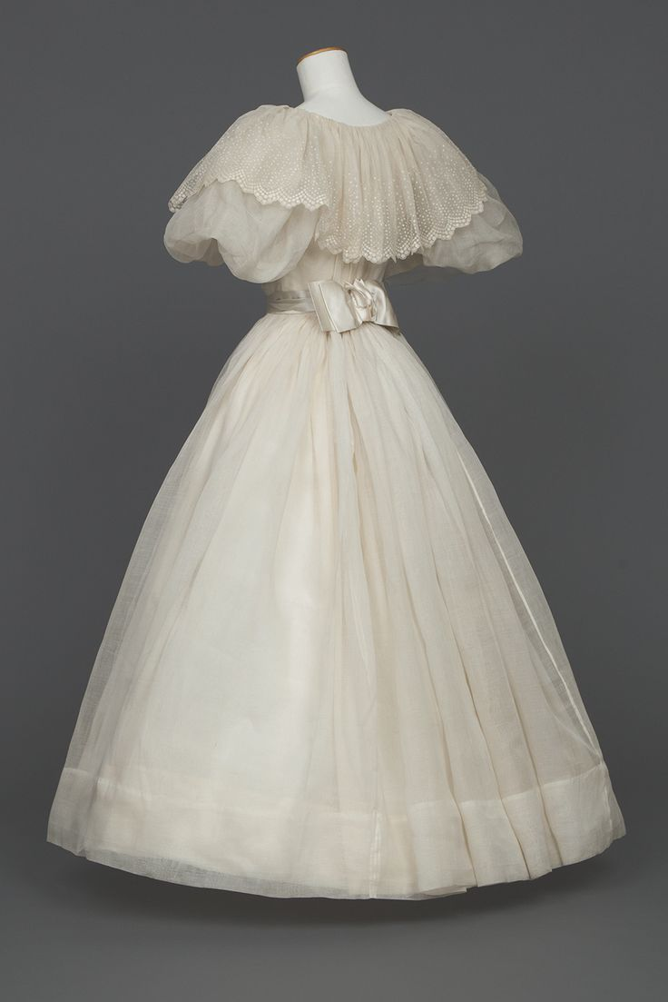 "historicaldress: "" Wedding Dress, 1895  White organdy wedding dress; bodice top fastens down front, completely lined with stayed, fine white cambric, very full white sleeves, bloused up to a very..."