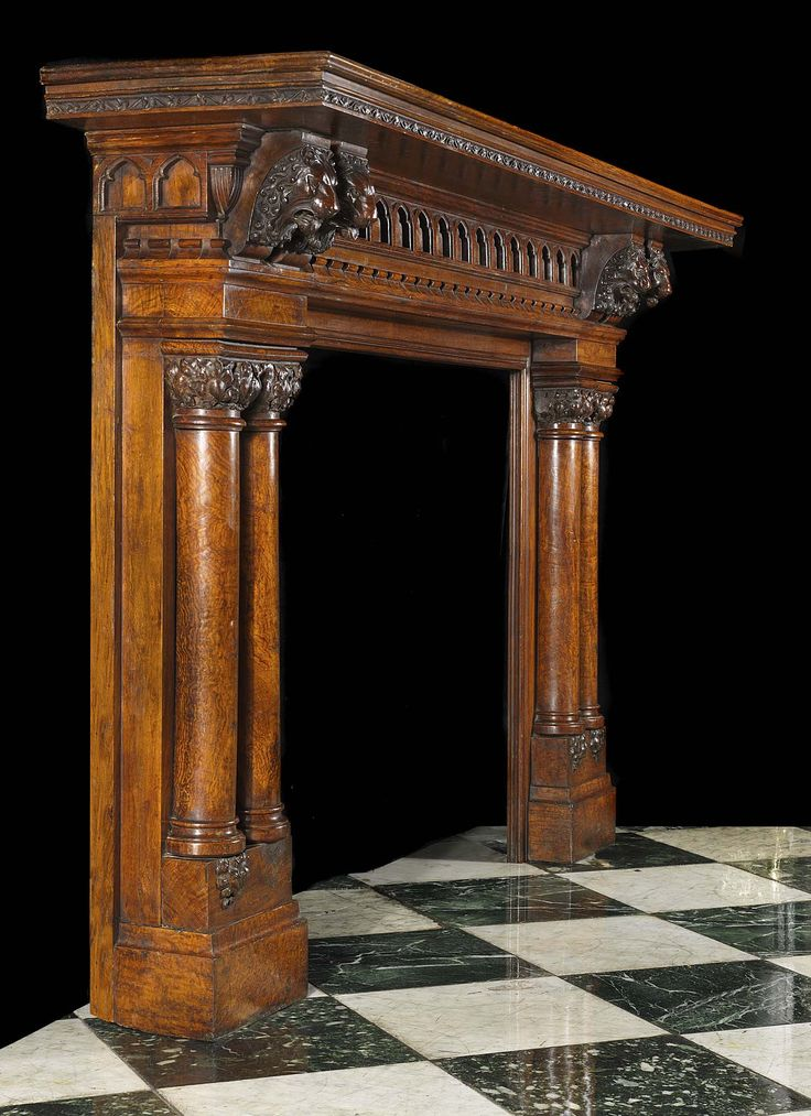 Victorian Fireplace Mantel With Mirror Back