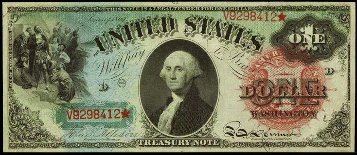One Dollar Bill From Series of 1869
