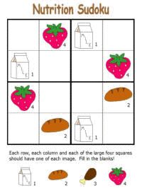 Nutrition Sudoku puzzles for children    #nutrition #sudoku