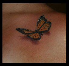 3D Butterfly Tattoo. Really loving 3D tattoos!