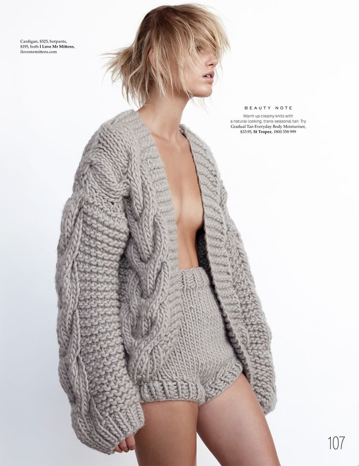 Cozy sweater & hotpants by I love Mr. Mittens (Louise Mikkelsen by Stephen Ward for Elle Australia February 2015)