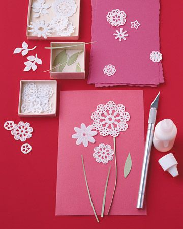 Cutting apart paper doilies to create a valentine - fun idea!