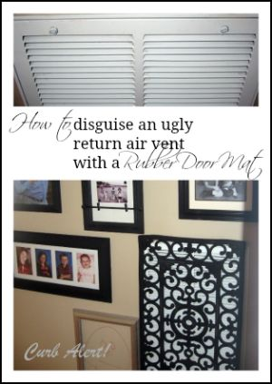 How to disguise an ugly air vent return with a doormat & $20...or you can buy one for $500! (No thank u!)