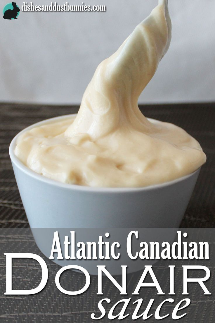 Donair sauce is a popular deliciously creamy and sweet garlic sauce that many East Coast Canadians like to put on cheesy garlic fingers (like garlic bread) or on our famous Donairs.from dishesanddustbunnies.com