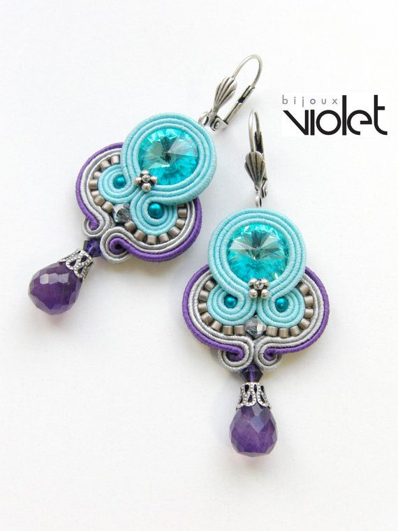 Soutache+Earrings+Venice+Carnival+II.+by+Violetbijoux+on+Etsy,+$49.00