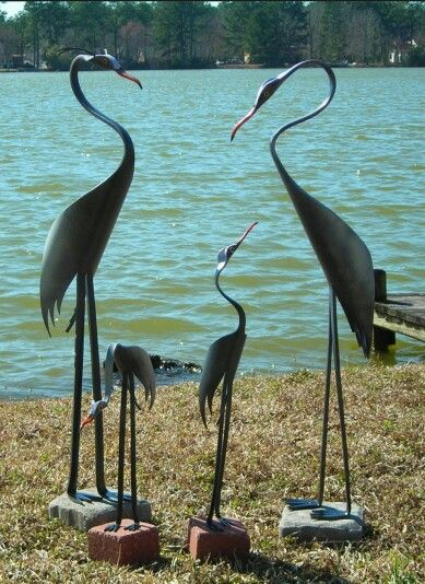Blue heron pvc pipe birds