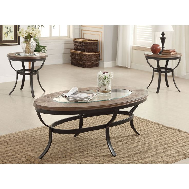 Acme Furniture Everton Oak And Antique Black Coffee End Table Set Of 3