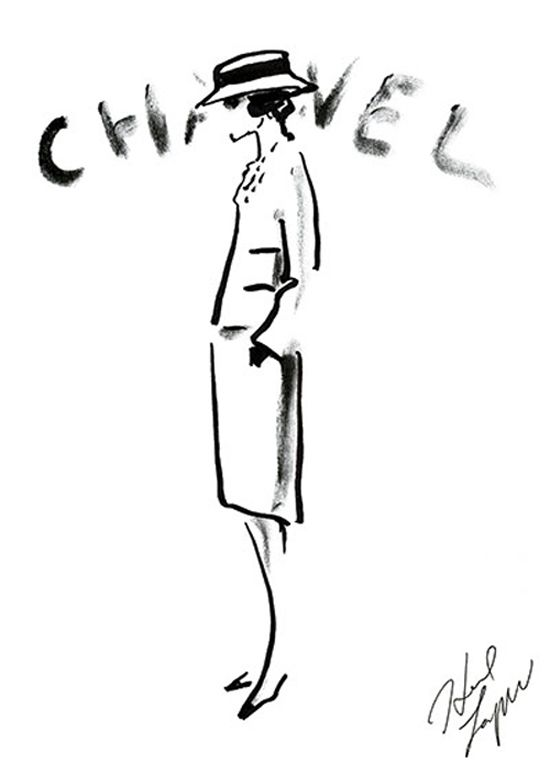 Sketches of Coco Chanel by Karl Lagerfeld. #Drawing #Fashion