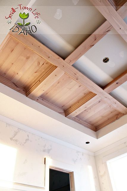 """All I could say is, """"Wow!"""" That looks gorgeous. I am a sucker for architectural details. This wood stained coffered ceiling turned out to be very beautiful. I can't wait until we can do some thing like this in our house. Submitted By Our Small-Town Idaho Life See how Andrew and Rachel accomplished this task …"""