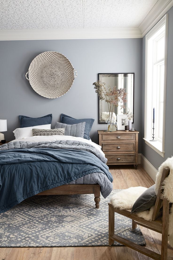 Bright blue bedding - This New Small Spaces Pottery Barn Collection Is Just What Your Tiny Home Needs