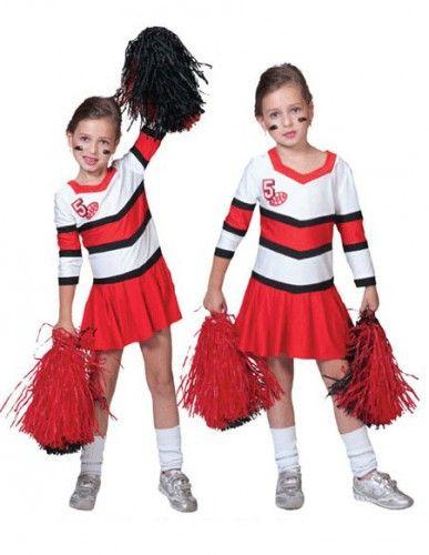 Cheerleader jurkje voor meisjes. Rood met wit cheerleader kostuum voor kinderen. Het kostuum bestaat uit een jurkje met een plooirokje. Gemaakt van polyester. Excl. accessoires.