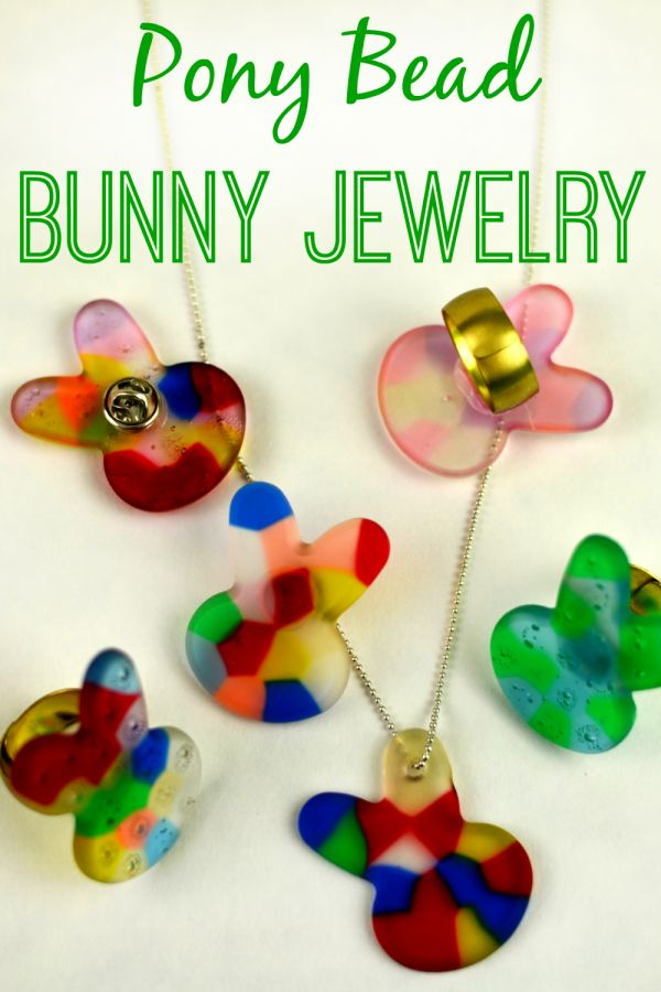Make sure cute #DIY #PonyBead Bunny #Jewelry by melting them in your oven! So easy!