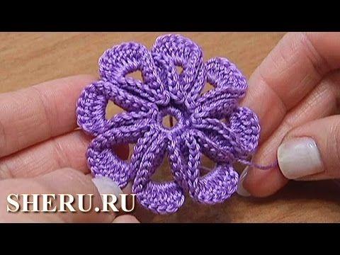 Crochet 3D Flower Pattern Tutorial 5 Как связать Цветок с объемными лепе...