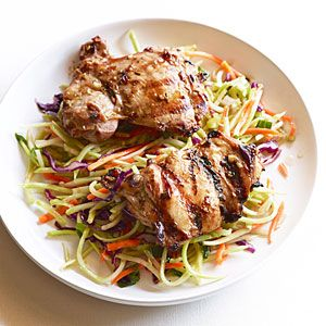 delish/ used apple cider vinegar instead of sherry and grilled bok choy/Grilled Thai Chicken Thighs with Spicy Broccoli Slaw | MyRecipes.com
