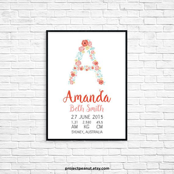 """Birth Announcement - Floral Wall Art - Floral Alphabet - Nursery Wall Decor - Floral Nursery - Baby Girl Nursery - Floral Decor - Baby Gift  PLEASE NOTE:  + You are purchasing a digital file only.  + NO PRINTED MATERIALS ARE INCLUDED!  + There are NO REFUNDS as this is a digital product.  + A reminder that this is a DIGITAL PRODUCT.  WHAT DO YOU GET? 11x14 inch digital printable artwork  HOW TO ORDER  1. Purchase the digital file.  2. Leave in the """"message to seller"""":  -- name of baby…"""
