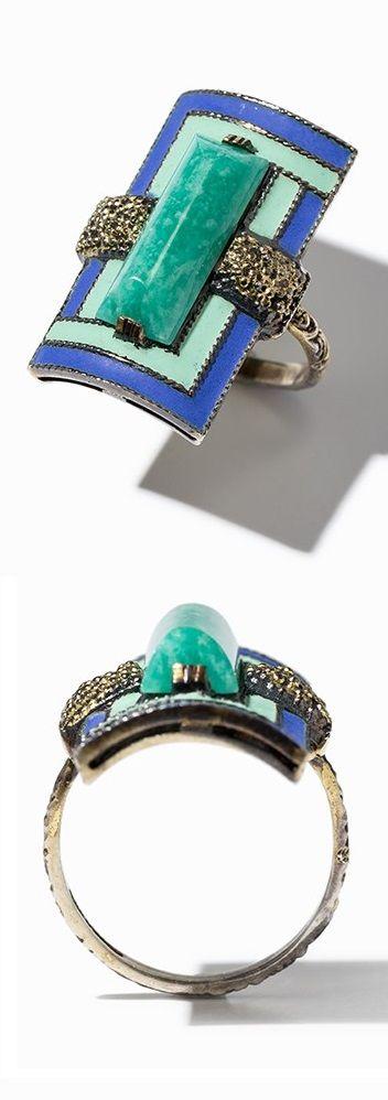 An Art Deco silver gilt, enamel and amazonite ring, European, 1920s-30s. #ArtDeco #ring