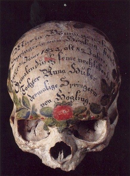 Goth:  A painted skull, Bavaria, Germany. How cool would it be to decoupage a skull from the Dollar Store?