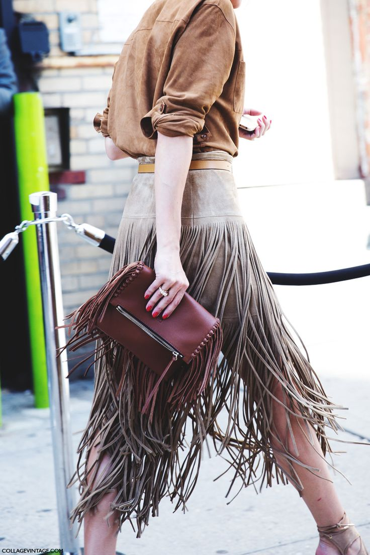 Michael Kors Suede Fringed Skirt, Gerard Darel Suede Blouse, Witchery Layered Necklace, Carolina Herrera Handbag, Aquazzura Sexy Thing Suede Cutout Sandals& Mulberry Belt