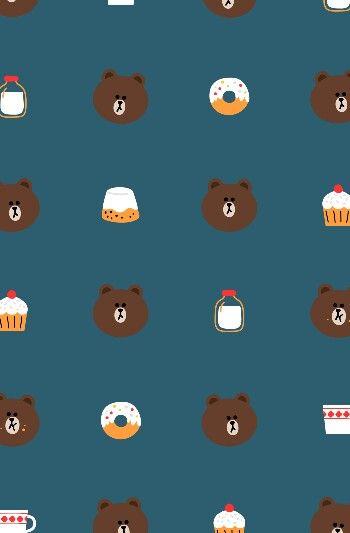 Cute Line Wallpaper Brown Wallpaper Characters Line Backgroun Brown
