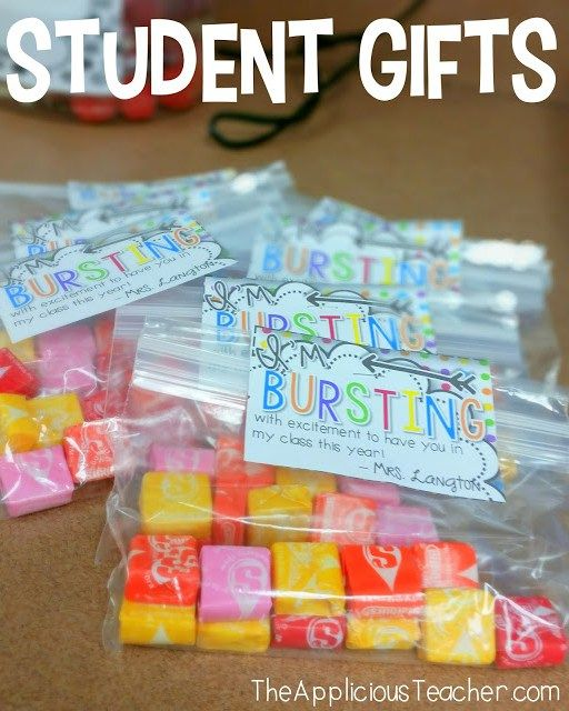 """Starburst student gift tags- """"I'm bursting with excitement to have you in my class!""""- Love this for the first day of school or meet the teacher!"""