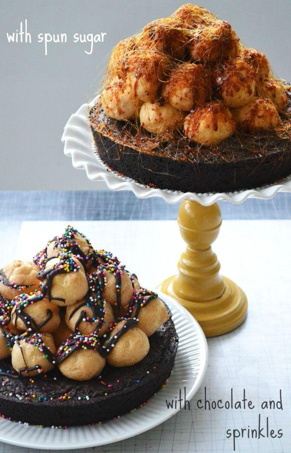 Cake Gatherings: A Birthday Croquembouche Cake - great adult birthday cake!