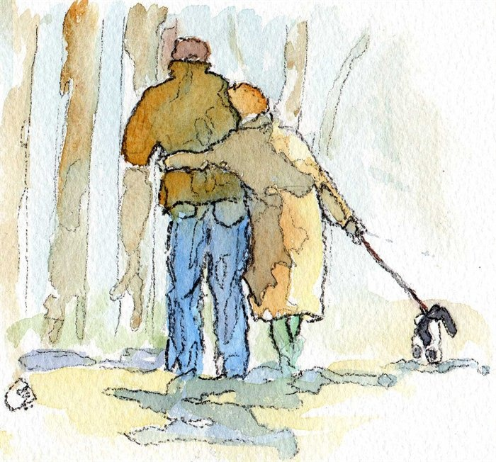 A simple walk with one you love, disguised as walking the doggie. By, Sarah Orchard