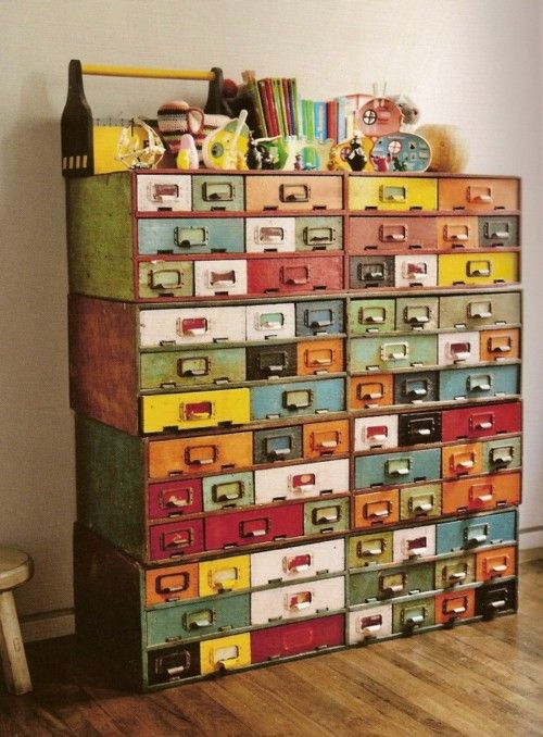 library drawers reposed and painted cool and funky…