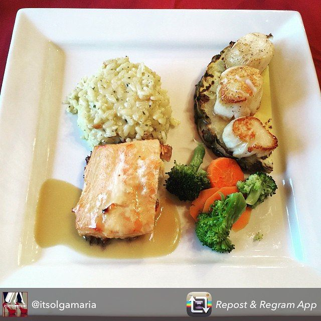 Dreaming of meals in Riverside Dining Lodge!  Nova Scotia Salmon, Pineapple curry scallops, risotto and vegetables!  Thanks @itsolgamaria!