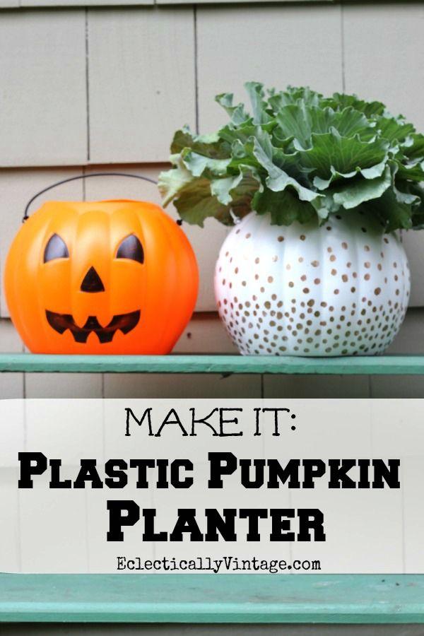 Plastic #Pumpkin Planter - great ideas to transform ugly plastic pumpkins! eclecticallyvintage.com
