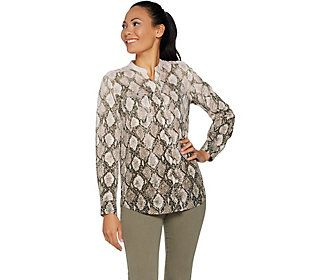 Belle by Kim Gravel Python Print Woven Blouse